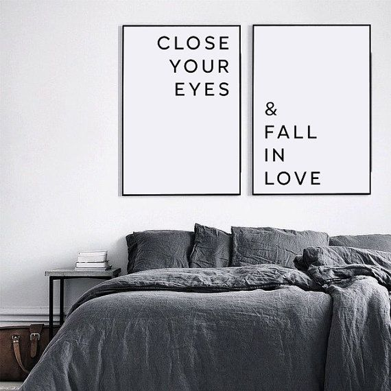 Love poster, Bedroom wall art, Close your eyes and fall in love, Love quote, Boyfriend gift, Bedroom printable art, Wall decor, For couples