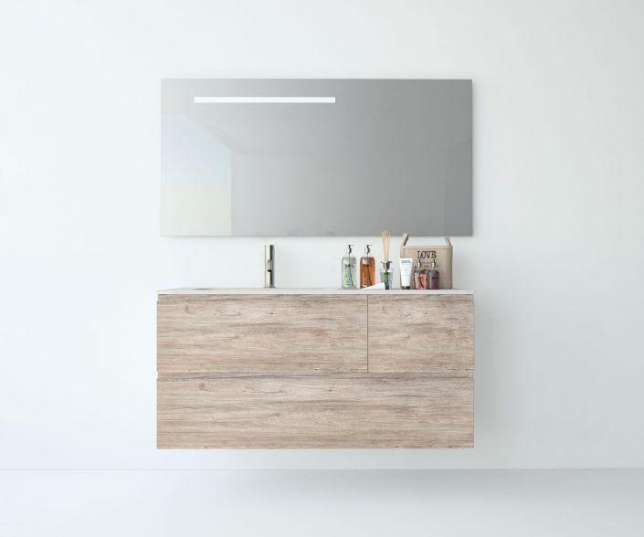 Muebles de baño a medida. Ejemplo de acabados en madera natural, laminados, lacas brillo o mate, etc.  unibaño-compactos-acabados-13