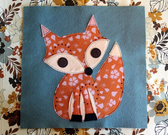 Fabric and Felt Fox Pillow