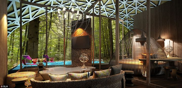 The opulent bird's nest suite, inspired by the Rung-Nok clan, has splashes of bold colour looking into the peaceful forest over the private pool