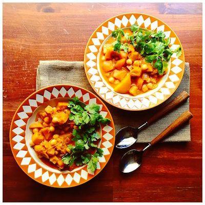 Chucrute com Salsicha: curry de abóbora e grão de bico