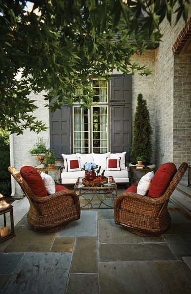 Create a place to daydream. Add color to your outdoor living space with accent / throw pillows. #outdoorliving