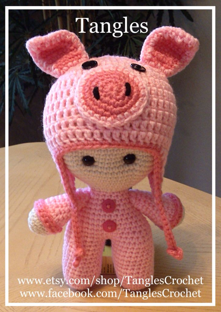 Pretty Piggy * Big Head Baby Doll Piggy hat made with a pattern by Repeat Crafter Me.