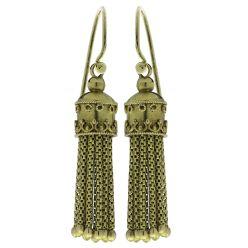 H106 15ct Gold Victorian Tassel Earrings