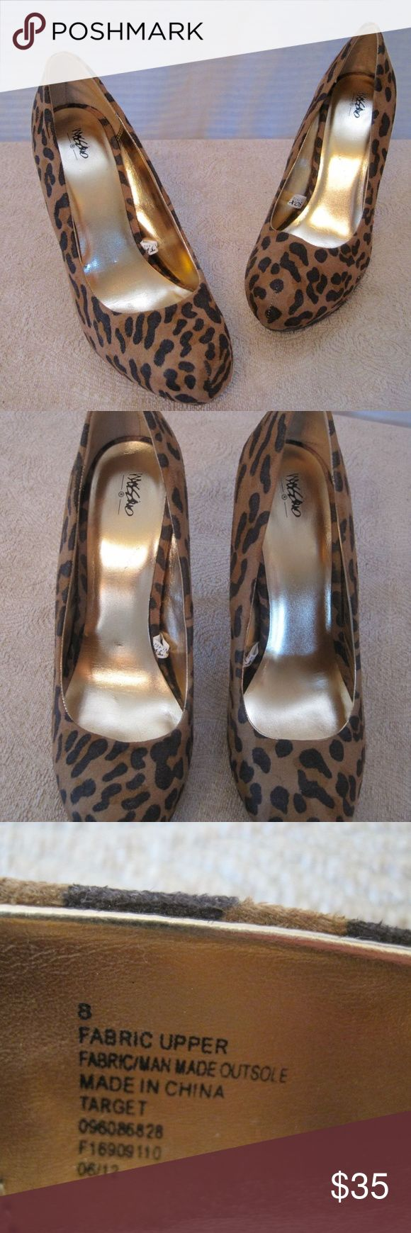 """Leopard Cheetah Animal Print 5"""" High Heel Shoes Women's Mossimo Leopard Cheetah Animal Print 5"""" High Heel Platform Shoes- Sz 8  Decent overall condition. Wear present on soles.  Measures approximately:   5"""" tall heel. Mossimo Supply Co. Shoes Platforms"""