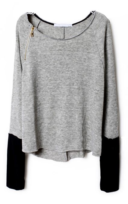 gold zip + grey + black tipped sweater