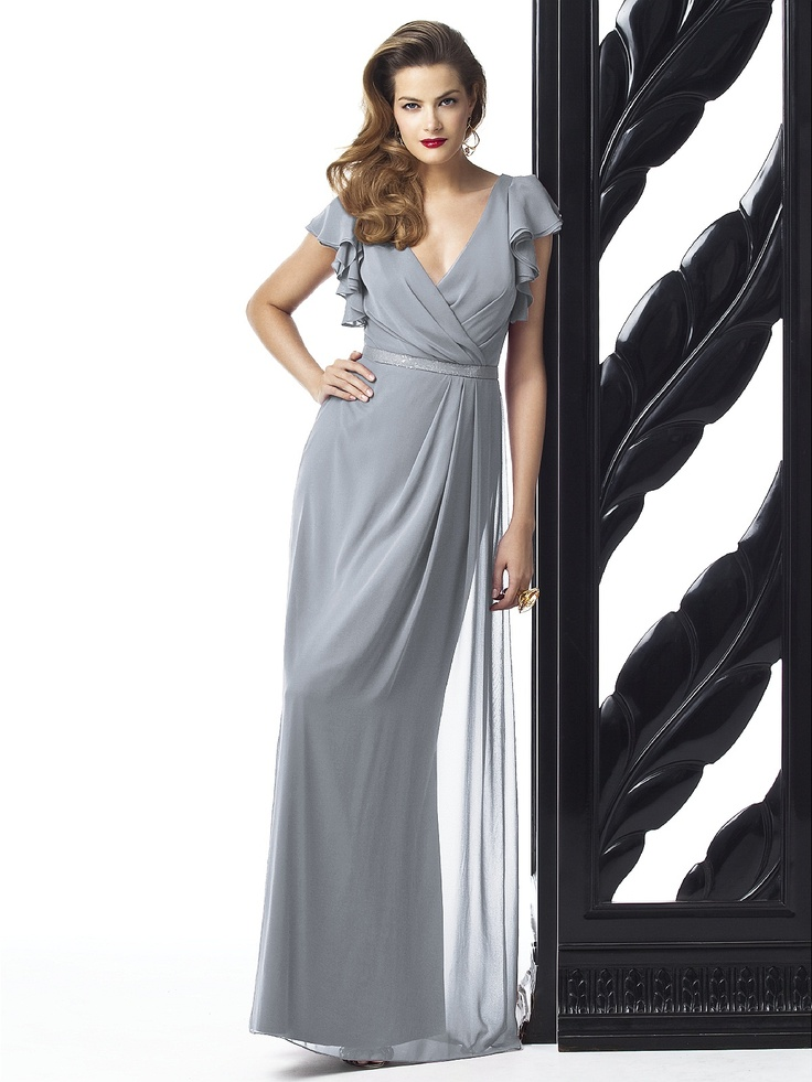 Dessy Collection Style 2874  Full length lux chiffon dress w/ flutter sleeves and draped wrap v-neckline. Pleated detail at skirt front. Lux chiffon covered silver sequin belt always matches dress. Sizes available 00-30W, and 00-30W extra length.