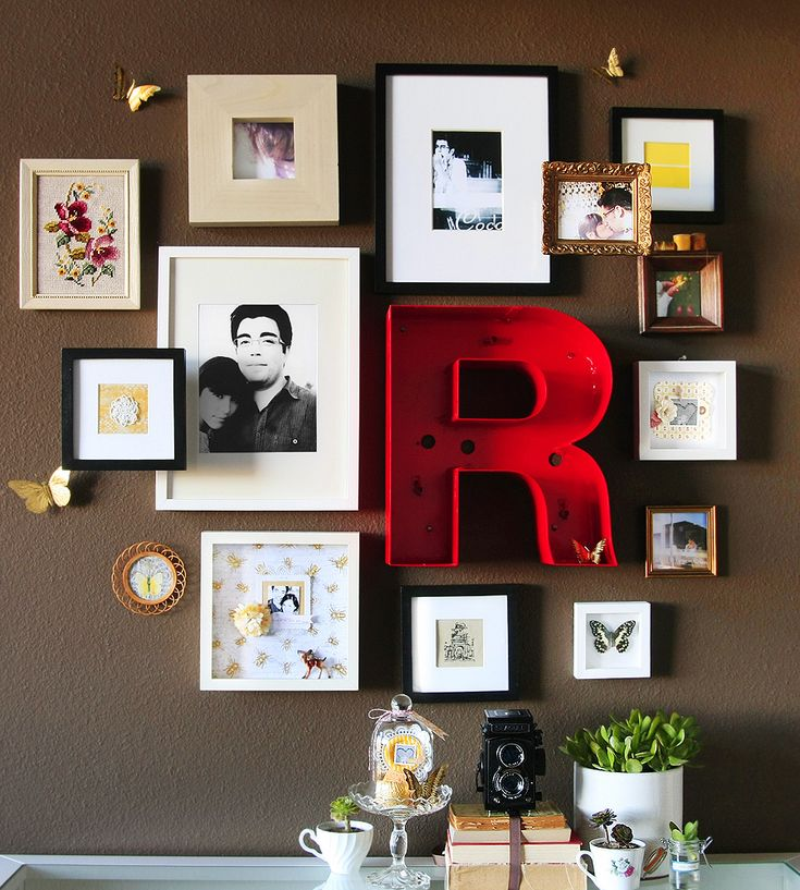 wall collage: Wall Collage, Wall Decor, Idea, Big Letters, Galleries Wall, Photo Wall, Wall Display, Pictures Wall, Wall Arrangements