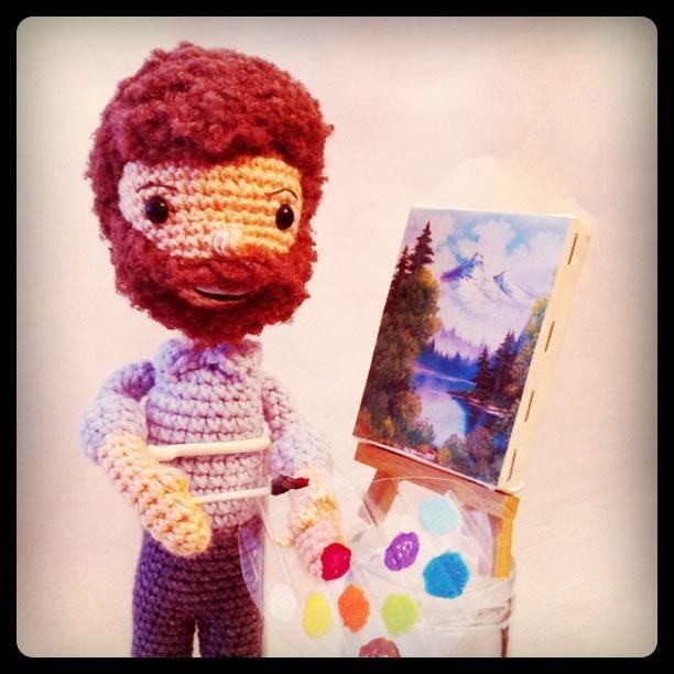 Bob Ross Amigurumi by Allison Hoffman of Crafty is Cool: Ross Amigurumi, Bobross, Crocheted Bob, Happy Trees, Bobs, Bob Ross, Crochet Doll, Amigurumi Pattern, Crochet Pattern