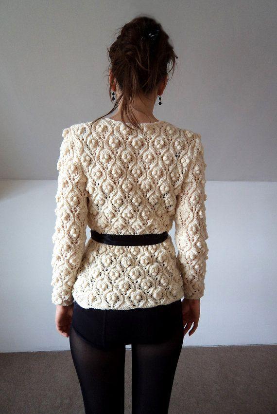 Cardigan suéter hecho a mano de punto blanco lana por bibatron