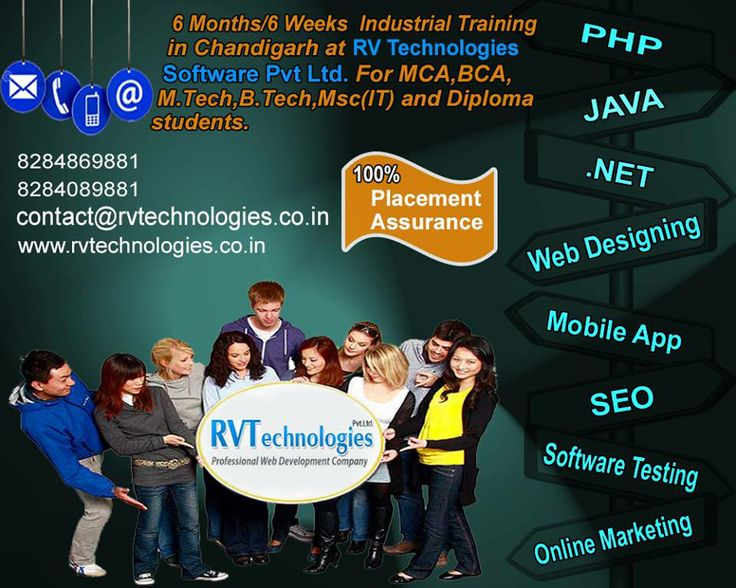 RV Technologies is one of the leading IT training institutes in Chandigarh, offering the 6 months & 6 weeks industrial training for MCA, BCA, M.Tech, B.Tech and Diploma students.