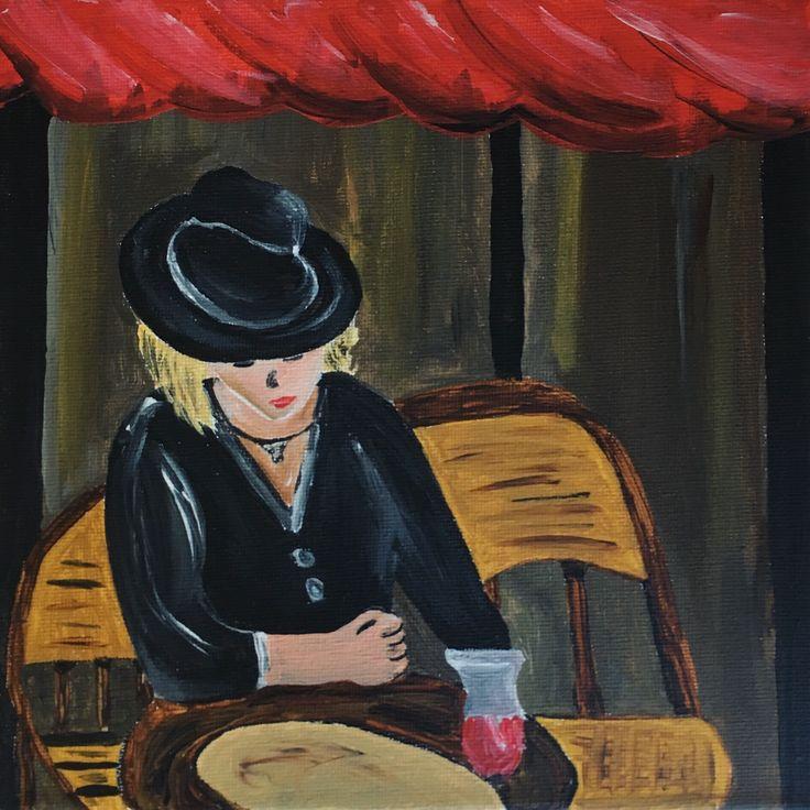 """""""Dame en terrasse"""" – Acrylique sur toile, 20x20 cm, 2017"""
