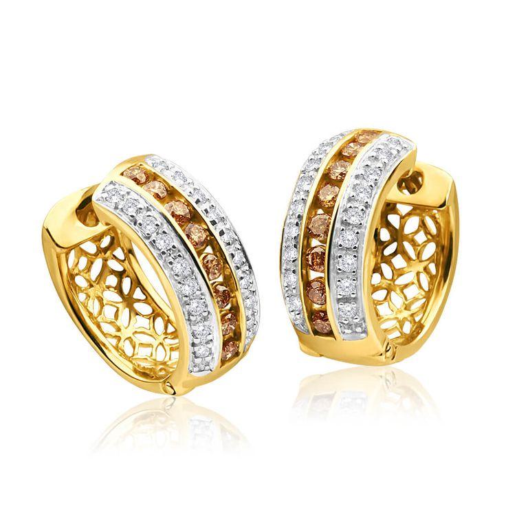 Australian Diamond Huggie Earrings in 9ct Gold (TW=50pt) image-a