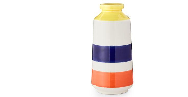 Kea, vase en céramique à rayures larges, rouge et bleu | made.com