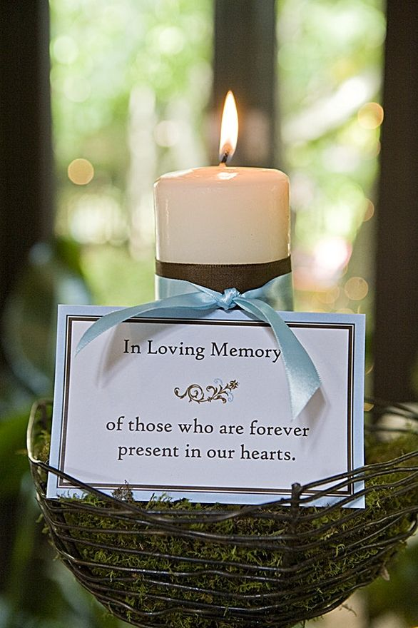 I would use different materials, but like the idea, wedding idea, candle for grandparents