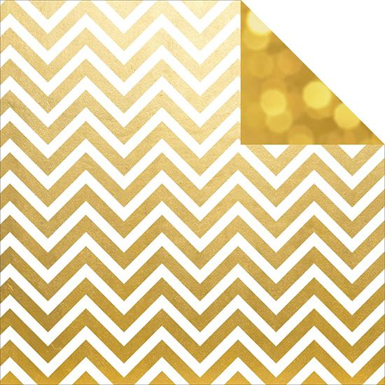 Simple Stories The Story of Us Gold Chevron Paper