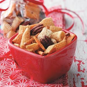 Reindeer Snack Mix Recipe -Don't forget the reindeer! Rudolph and his pals will be dashing, dancing and prancing to gobble up this savory snack mix. Humans also will enjoy the buttery, perfectly seasoned and wonderfully crunchy combination.