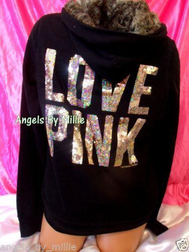 Victoria's Secret PINK Large L Black Bling Fur Sequins Fashion Show Zip Hoodie