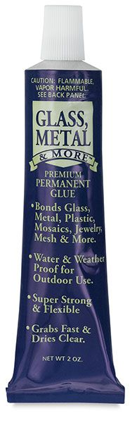 Glass, Metal & More is weatherproof and waterproof, making it ideal for use in a variety of outdoor applications. It grabs fast, dries clear, remains pliable, is UV-resistant and, unlike many other brands of glue, never yellows with age.