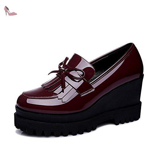 Derby femme compensé mocassin miroir frange nœud papillon plate-forme chaussure de ville étanche élégant rouge vineux 37 - Chaussures xtian (*Partner-Link)
