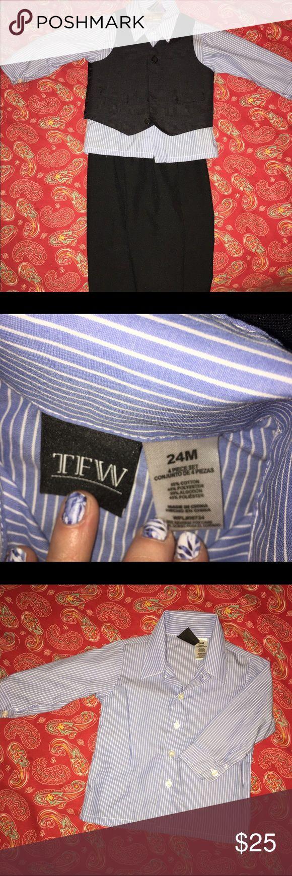 3 pc toddler suit 3 piece suit (shirt, vest, pants): blue striped button down LS shirt; vest (plaid - see pics for close up); elastic waist pants (plaid) TWD Other