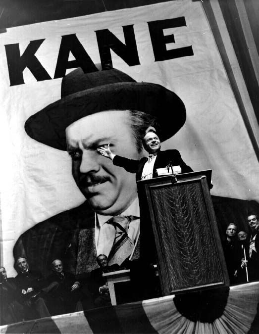 "CITIZEN KANE ... Orson Welles' 1941 masterpiece (and his first feature film) ... startlingly innovative narrative structure, scoring, & cinematography ... widely considered the greatest film ever made, even 70+ years later ... controversial, powerful, iconic ... scathing look at media & politics ... survived attempts to buy & burn the prints & negative ... Rosebud ... ""People will think what I tell them to think."""