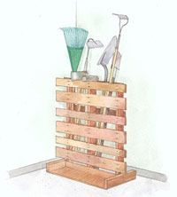 Garden tool storage - recycled pallet