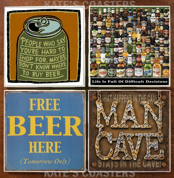 Set of 4 Man Cave beer tile coasters by KatesCoasters on Etsy, $10.00