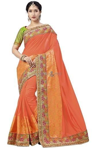 Good Looking Orange Embroidered Art Silk Wedding Saree For Bride   #WeddingSarees #Sarees #Saris #WeddingSaris #SarisOnline #WeddingSareesDesign #WeddingSarisPattern #DesignersAndYou #DesignerSaris #DesignerSarees #DesignerSareesDesign #BestSarees #BeautifulSarees #BeautifulSaris
