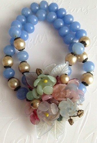 Beautiful Vintage Glass Beaded Molded Flower 2 Strand Bracelet Miriam Haskell | eBay