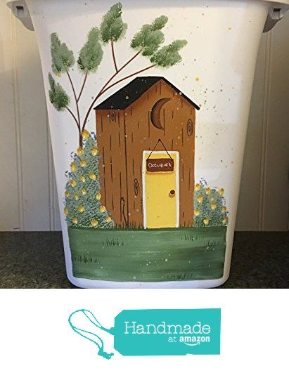 Old Fashioned Outhouse with Rose bushes Bathroom Trash Can from Primitive Country Loft House https://www.amazon.com/dp/B01H0O73PI/ref=hnd_sw_r_pi_awdo_kfepyb8M77XZ3 #handmadeatamazon