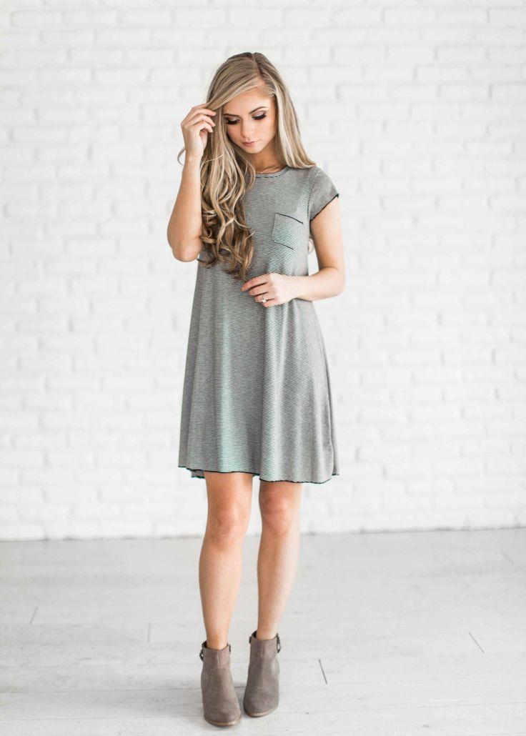 stripe dress, stripe tunic, boots, fashion, style, ootd, hair, blonde