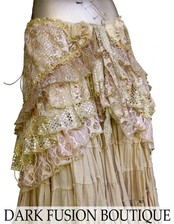 Wrap, Couture, Cream, Sepia, Light Pink, Gold, Sparkle, Skirt, Cabaret, Fusion, Tribal, Steampunk, Cocktail, Noir, Gothic, Belly Dance