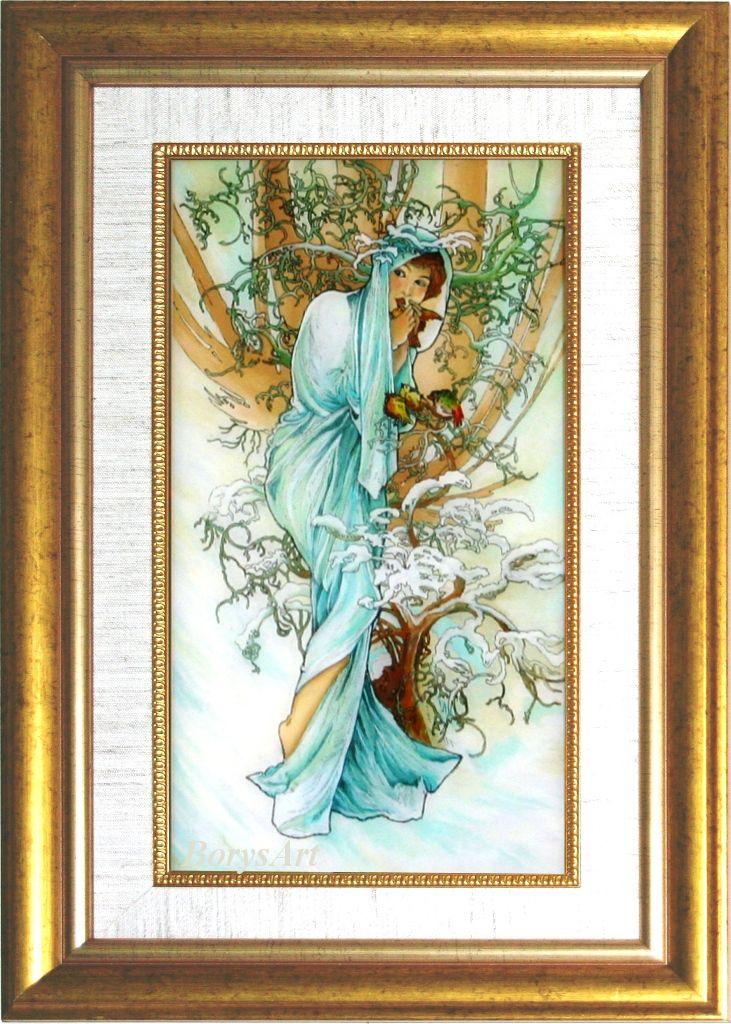ZIMA  Alphonse Mucha, malowane na szkle, Danuta Rożnowska-Borys -BorysArt