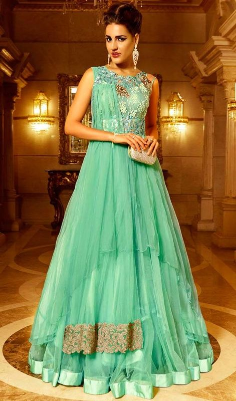 Create a buzz with this sea green color embroidered net Anarkali churidar suit. The lace and resham work seems to be chic and aspiration for any event. #awesomeanarkalisuits #longflaredanarkalidress #charminglookanarkalidresses