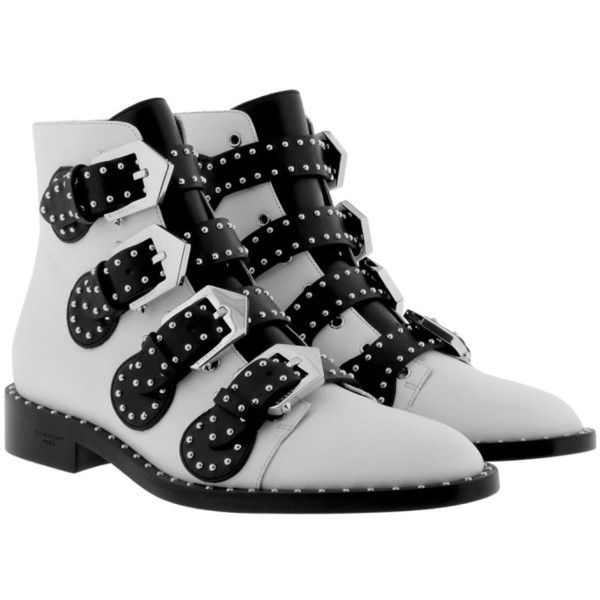 Givenchy Boots & Booties - Studded Bicolor Boots Black/White - in... ($1,155) ❤ liked on Polyvore featuring shoes, boots, ankle booties, ankle boots, white, white ankle boots, buckle ankle boots, studded booties and white leather boots