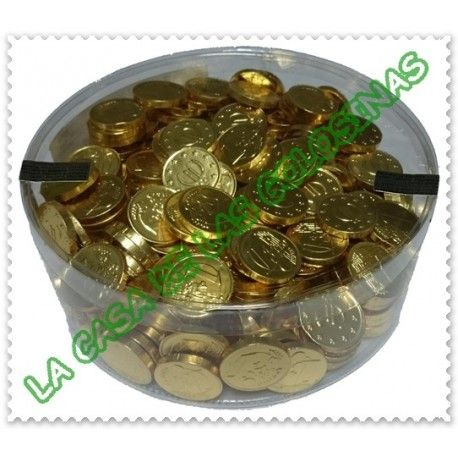 Monedas de chocolate doradas bote 300u.