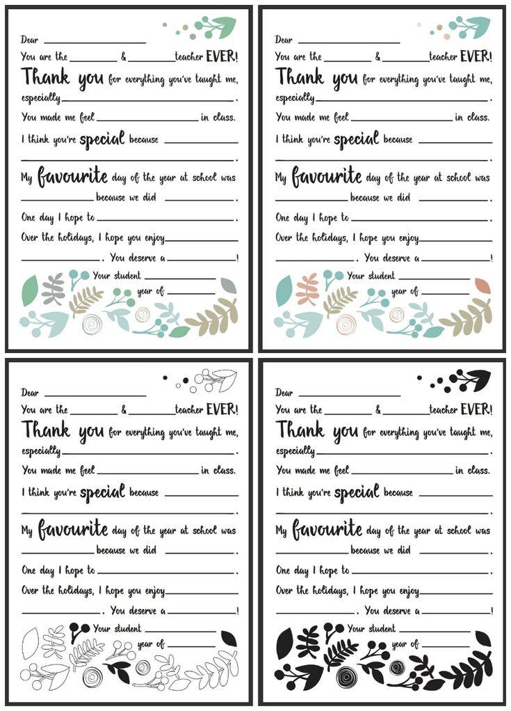 dear teacher letter