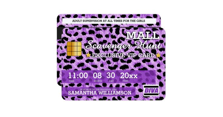 Exclusively designed for the smaller card size with rounded corners to resemble a real credit card, this super fun mall scavenger hunt birthday party invitation will be a fantastic way to kick off your celebration! Personalize all the text lines for your party.  If you need any assistance, please contact me and I'll be happy to help you make it perfect.