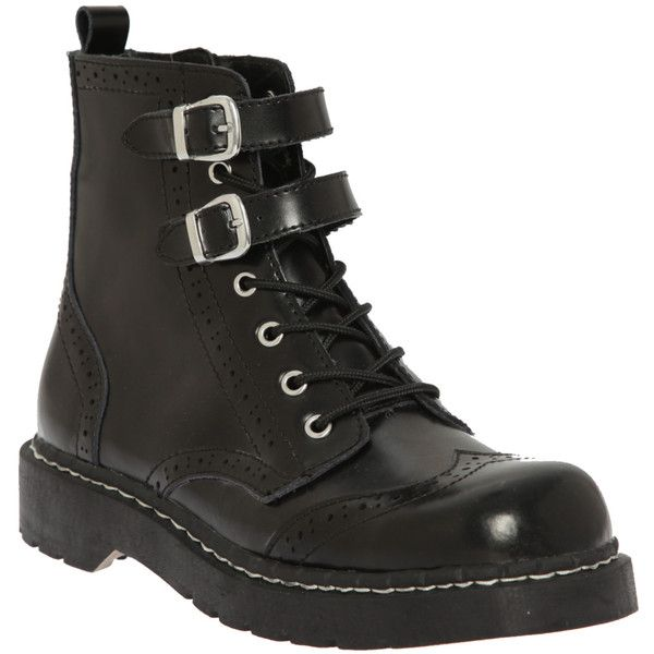 Anarchic By T.U.K. Black Brogue Boot | Hot Topic (225 BRL) ❤ liked on Polyvore featuring shoes, boots, sapatos, leather shoes, real leather boots, black buckle boots, leather boots and black brogue boots