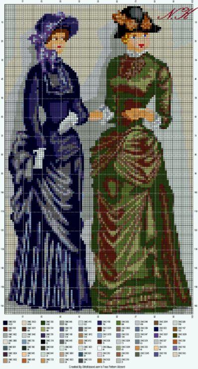 Gallery.ru / Старые времена женщины - Мой Вышивка крестом Дизайн - nurdankanber