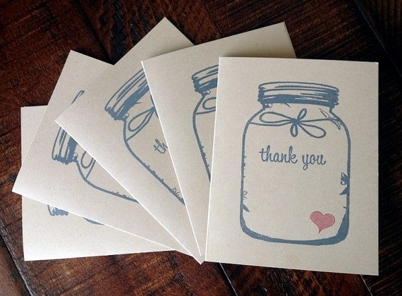 Adorable Rustic Chic Handmade Kraft Mason Jar THANK YOU Note Cards Stationery by Paperlaced, on #etsy! Perfect for wedding thank you notes! :) {$7.49}