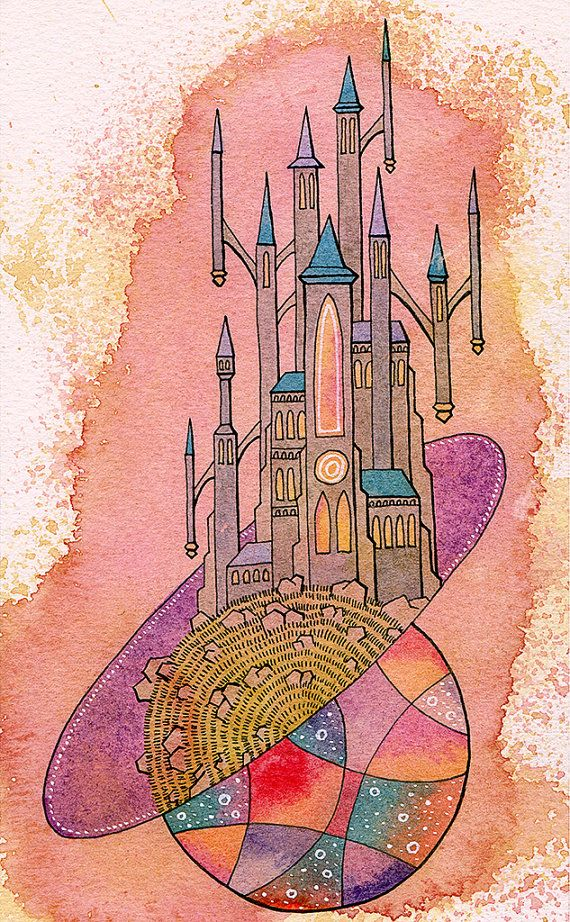Art Print  Cosmic Castle  5 x 7 by eugenefrost on Etsy, $6.50