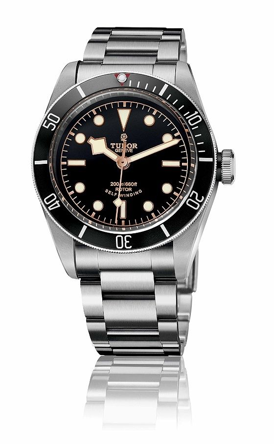 "The Tudor Heritage Black Bay ""Black"" on a steel bracelet with a black dial and bezel. Read more at: http://www.watchtime.com/wristwatch-industry-news/watches/a-darker-diver-introducing-the-tudor-heritage-black-bay-black/ #tudorwatches #watchtime #divewatch"