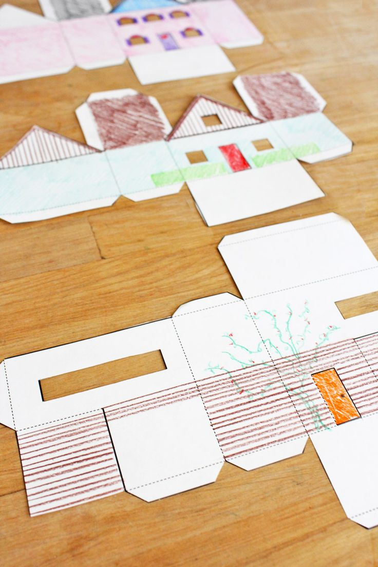 Design for Kids: Paper Houses - Free downloadable templates to color and make 3D houses -Skye