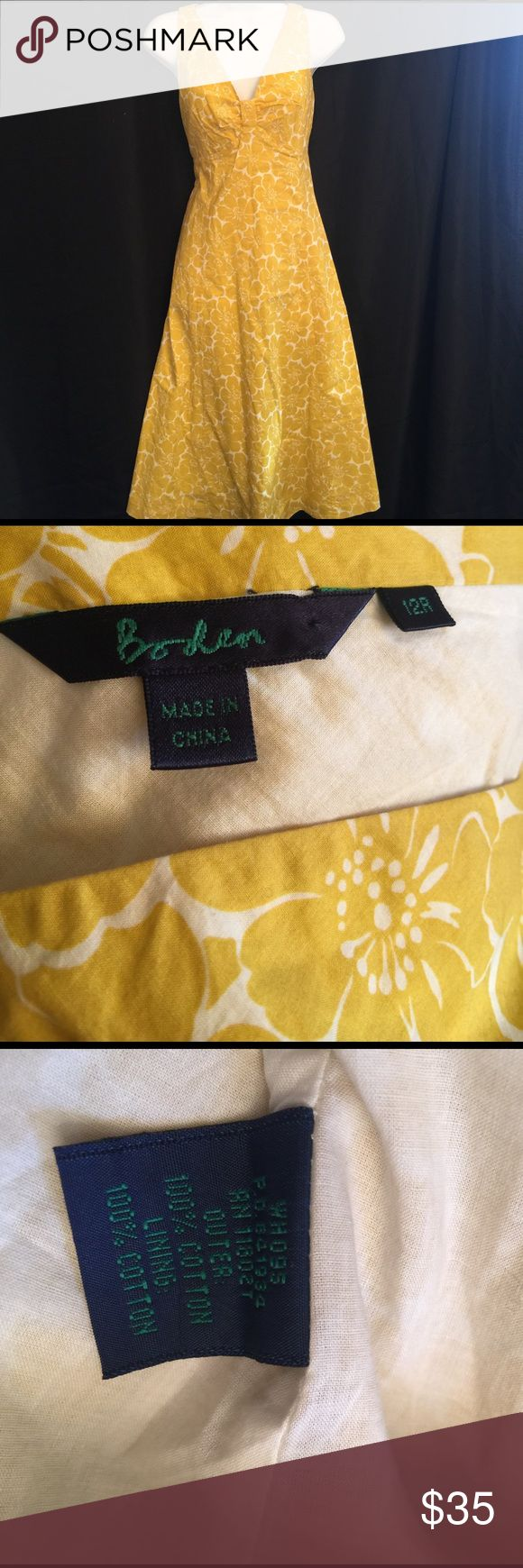 Boden  SZ UK12/US8 White and Yellow Flower Dress Excellent Condition Boden White and Yellow Summer Dress Sz 12R the tag is a UK sz which would be a US sz 8. Boden Dresses