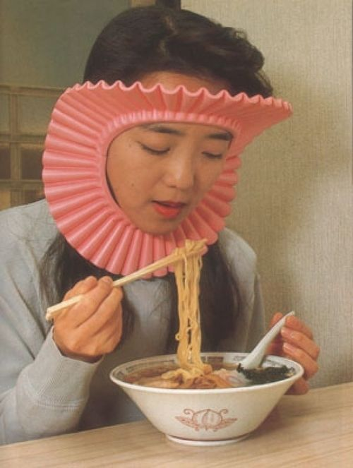 Keep your hair out of your food and your food out of your hair with this handy and questionably fashionable slurp guard.  [Image via BuzzFeed]