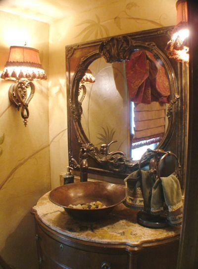 Flv16 Hammered Flared Vessel Sink On Antique Vanity With