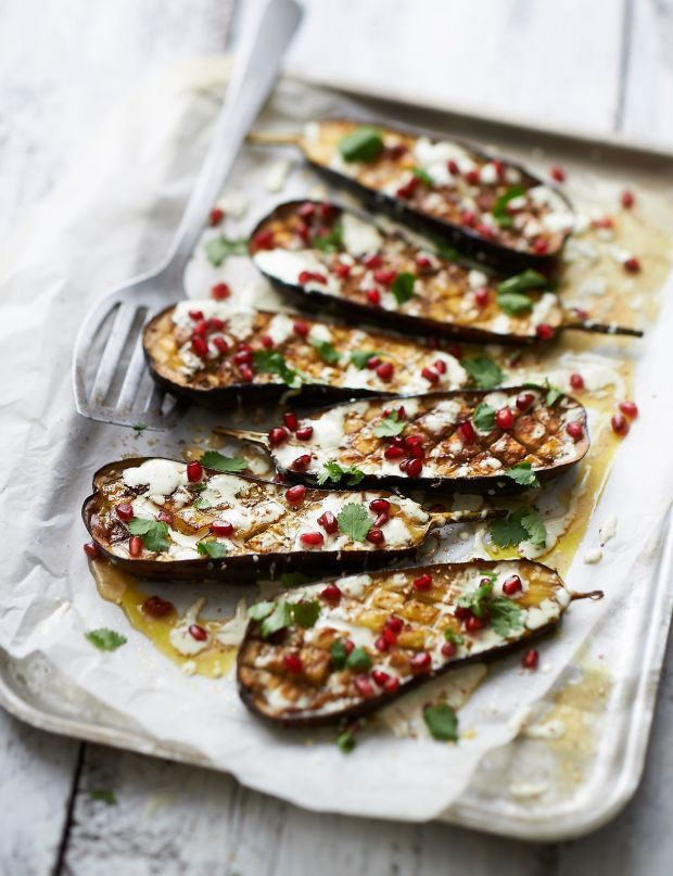 Roasted Aubergine With Tahini & Pomegranate Recipe