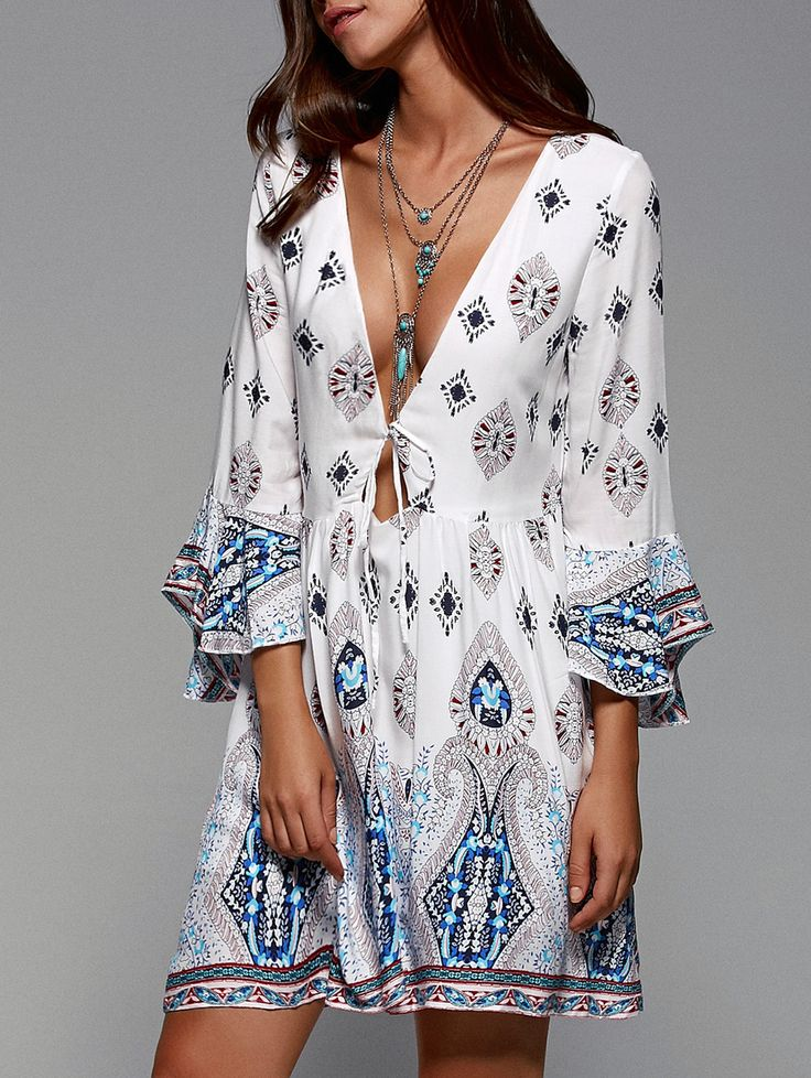 Tribal Print Plunging Neck Flare Sleeve Dress